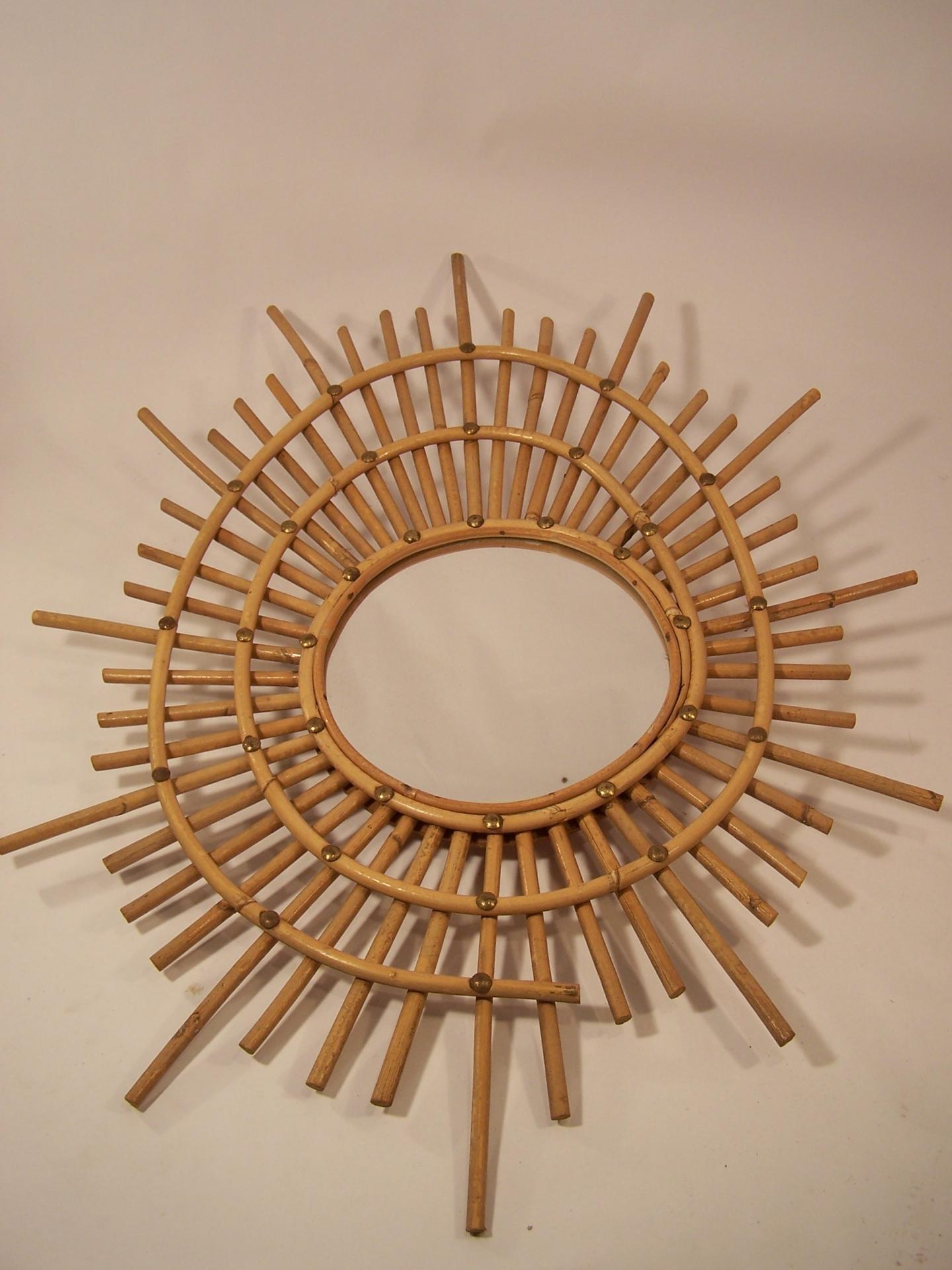 Miroir en osier forme libre des ann es 50 60 for Miroir diametre 50