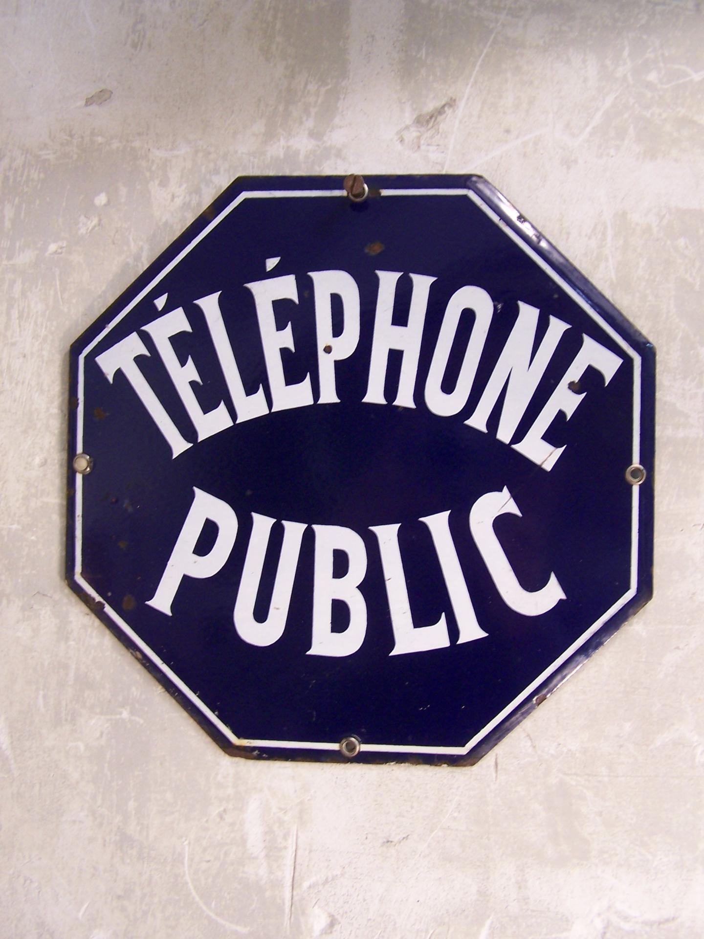 ancienne plaque maill e telephone public. Black Bedroom Furniture Sets. Home Design Ideas