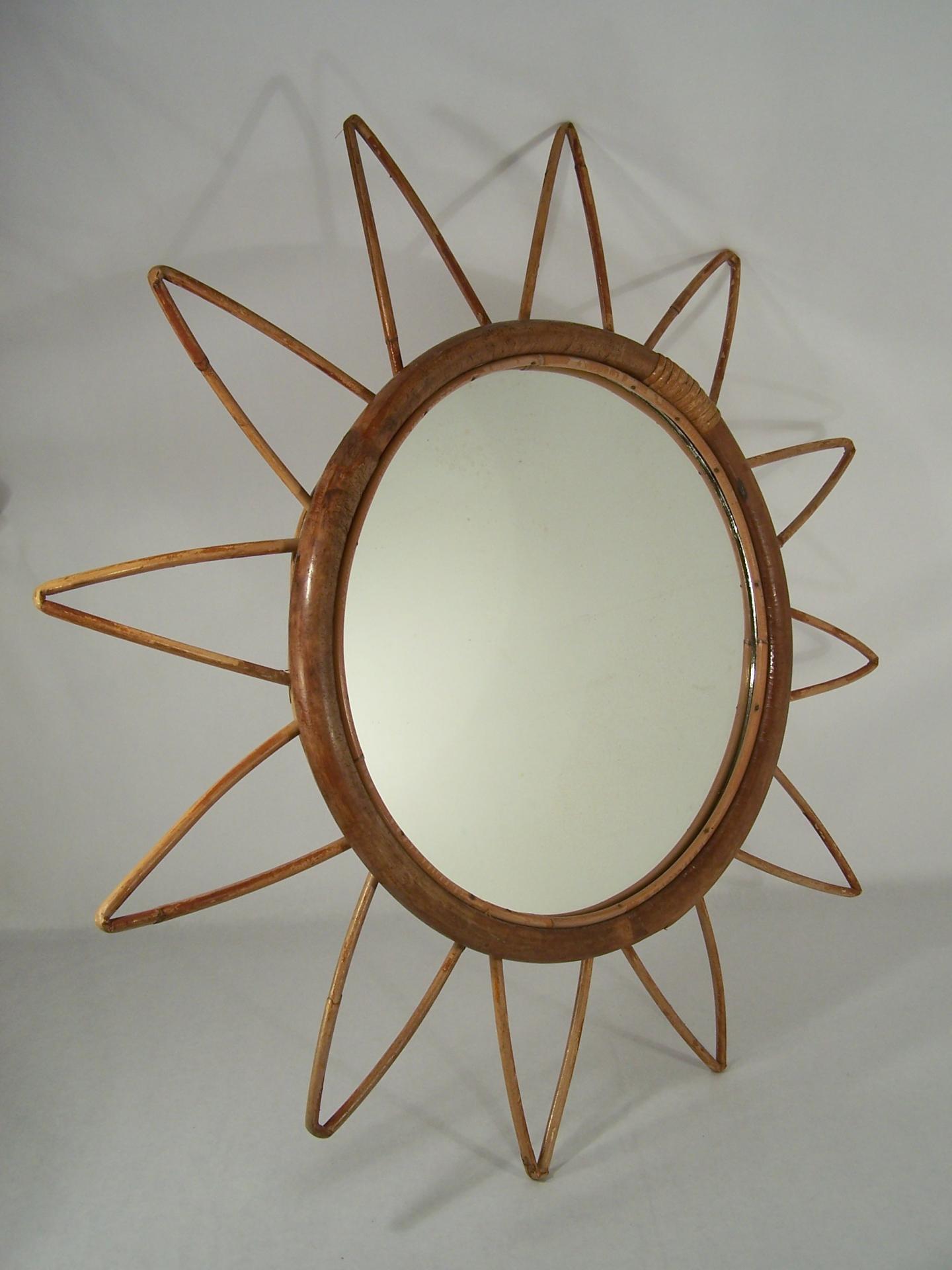 Miroir soleil vintage miroir en osier miroir en rotin for Miroir soleil osier