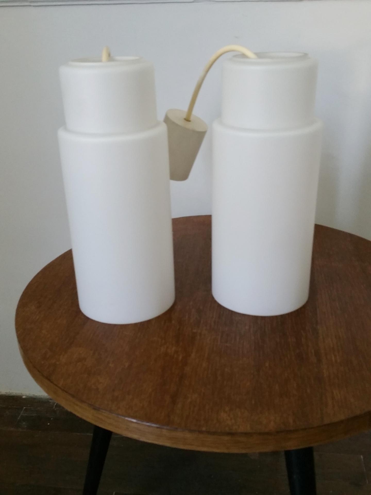 1 paire de suspension opaline blanche