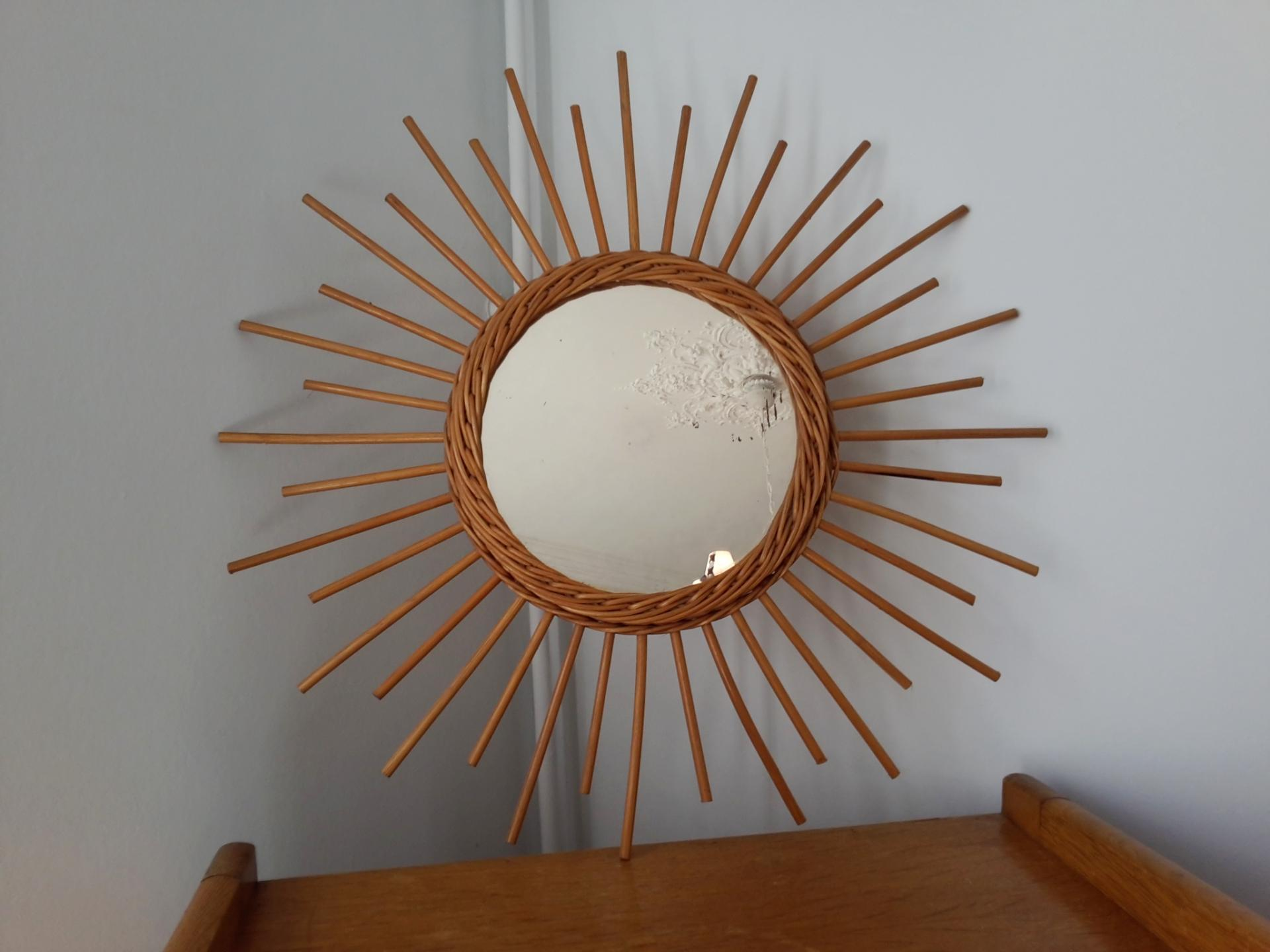 Miroir soleil vintage en osier for Miroir soleil prix