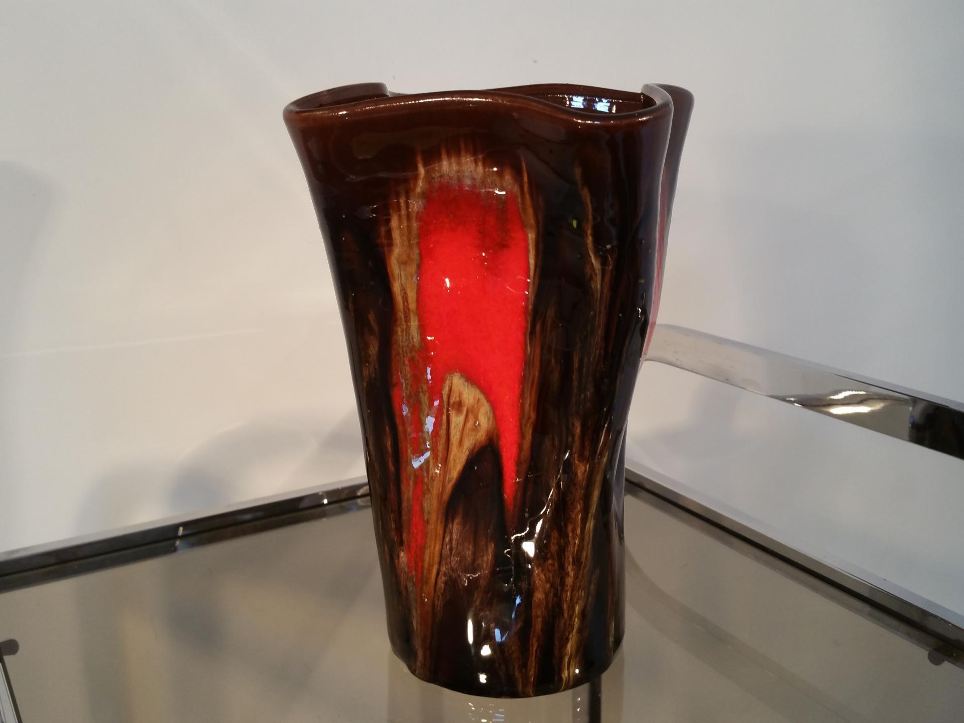 3 vase vallauris marron rouge