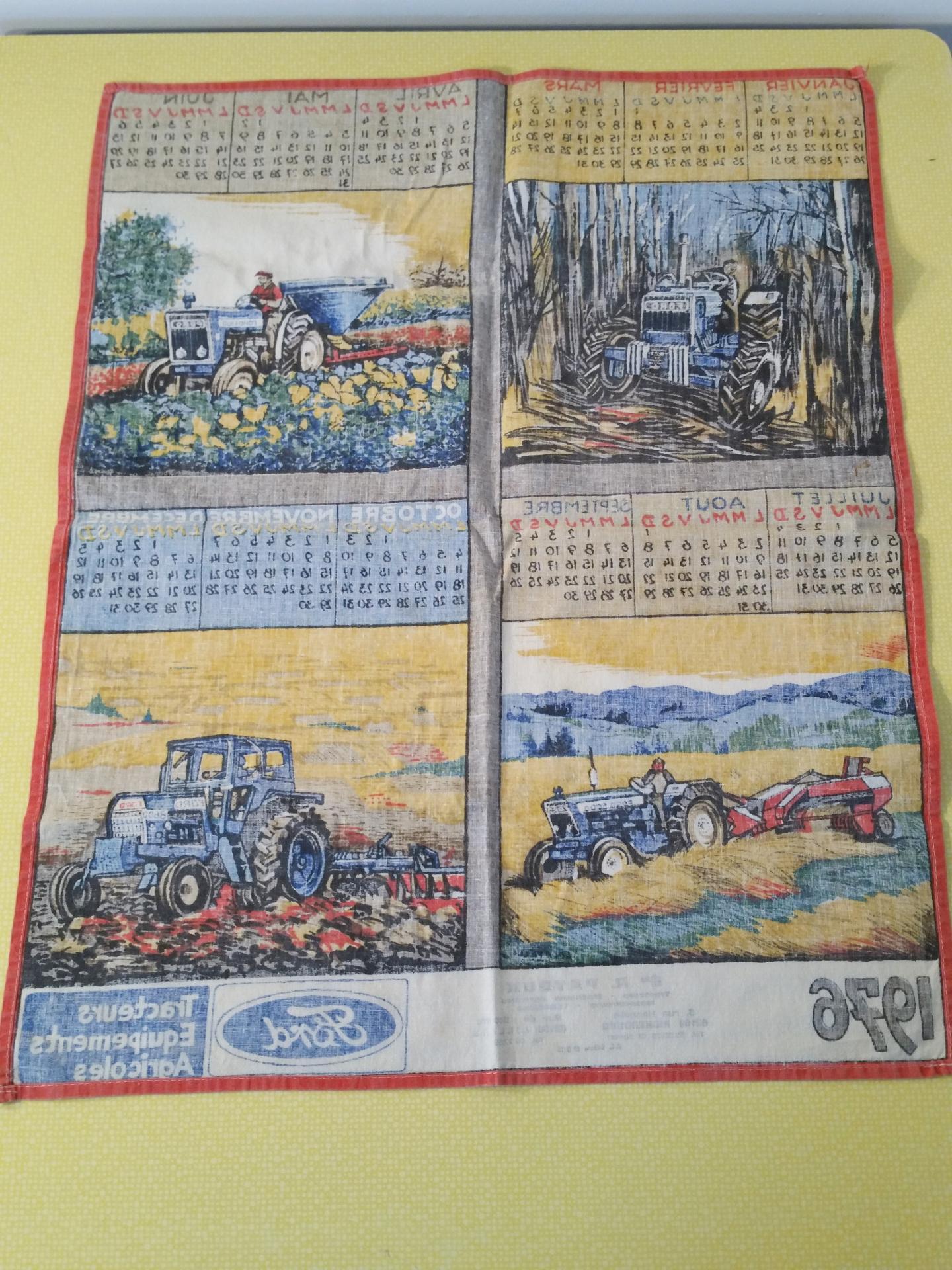 Torchon calendrier 1976 torchon de cuisine vintage tracteur ford - Torchon calendrier ...