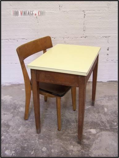 Table et chaise d 39 colier vintage - Chaise d ecolier vintage ...