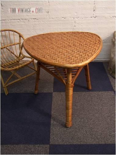 Table tripode en osier table vintage - Table en osier tresse ...
