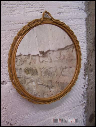 Miroir rond en osier des ann es 70 miroir vintage en for Miroir annee 70