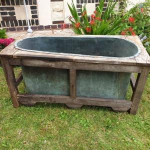 0 baignoire cuivre et bois