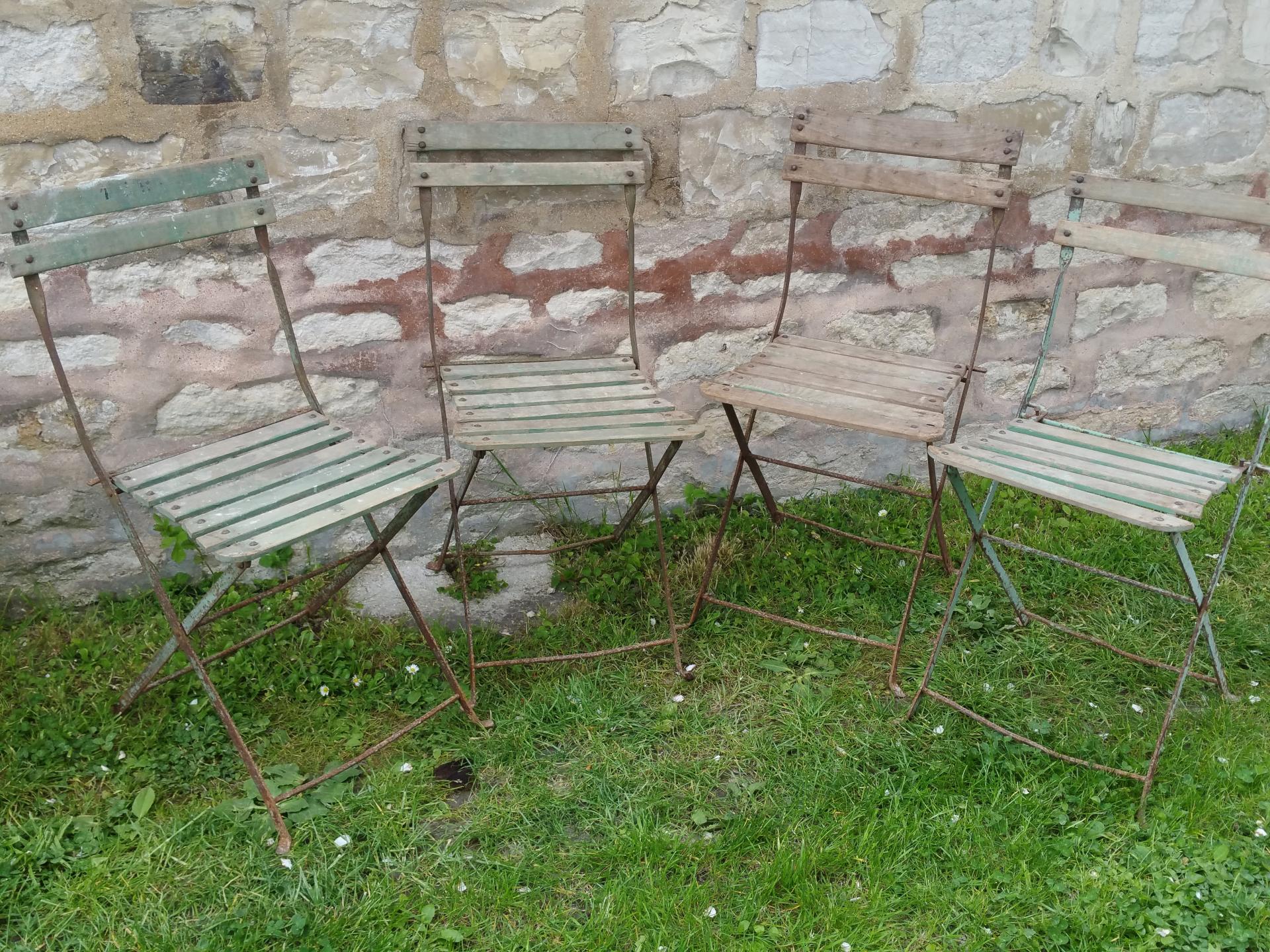 chaises de bistrot anciennes chaises de jardin. Black Bedroom Furniture Sets. Home Design Ideas