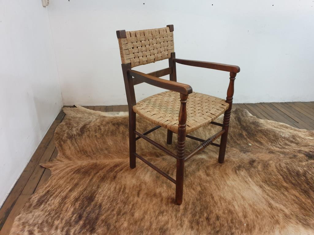 0 fauteuil bois corde