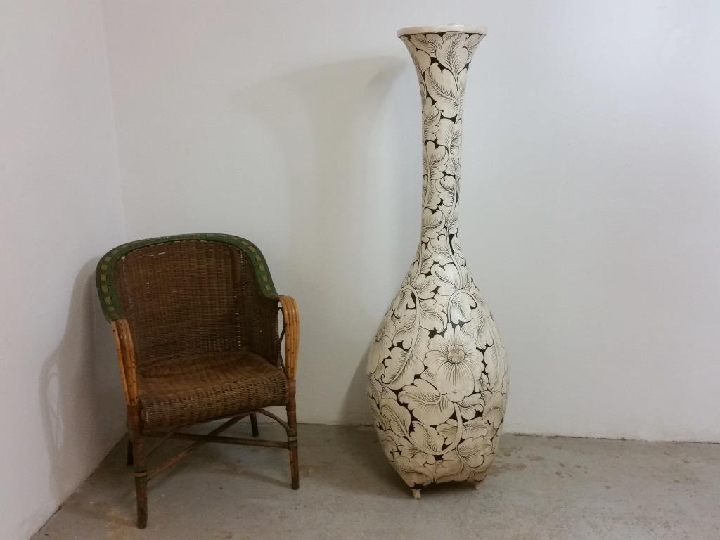0 grand vase en osier decor floral