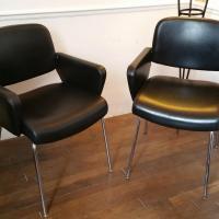0 paire de fauteuils skai noir