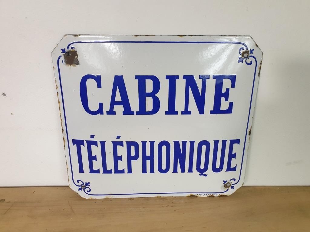 0 plaque emaillee cabine telephonique