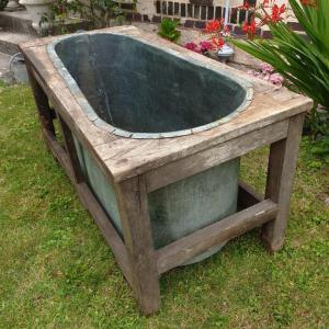 01 baignoire cuivre et bois