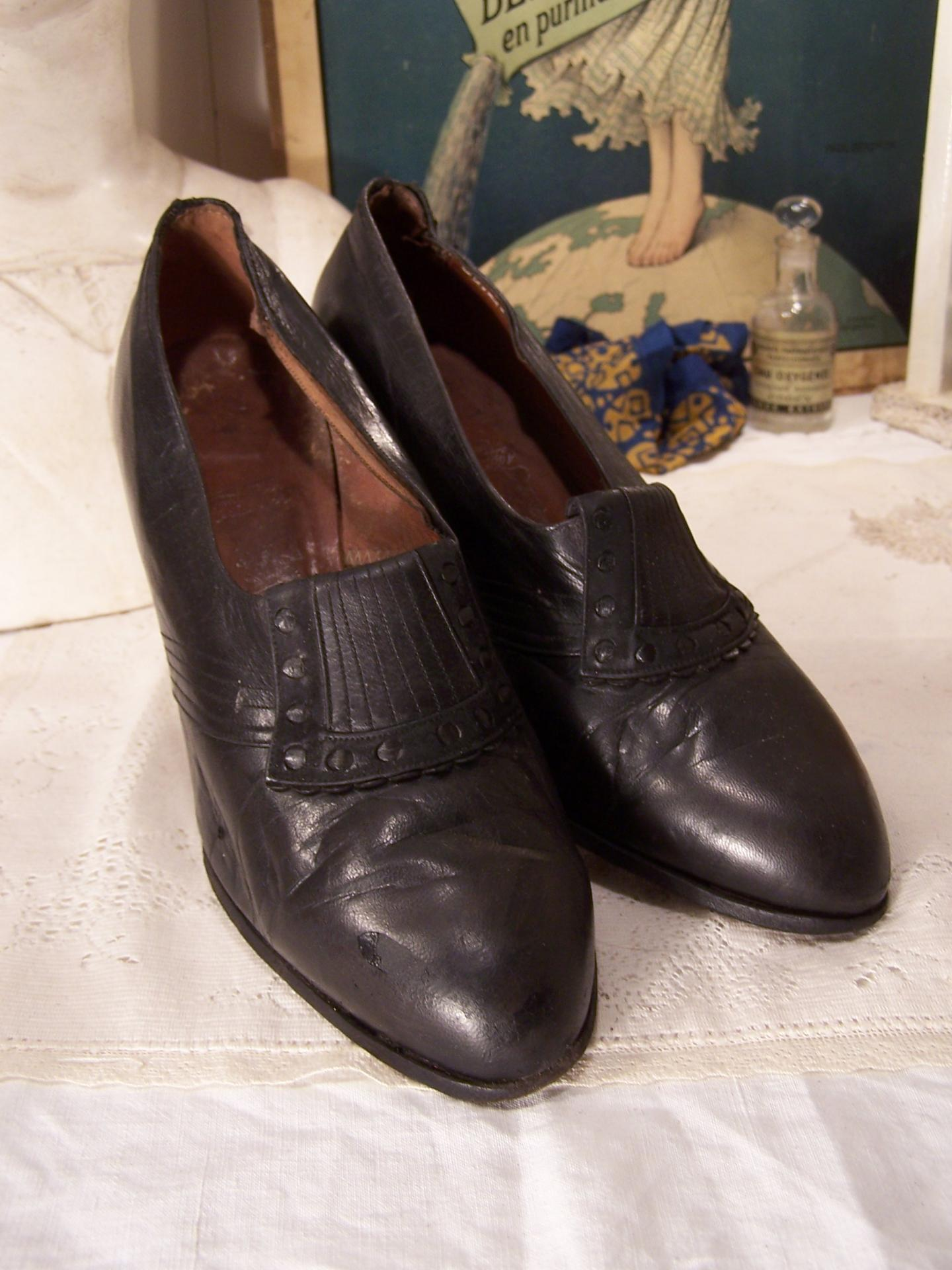 Chaussures en cuir chaussure de femme des ann es 40 chaussures vintage - Chaussures annees 50 femme ...
