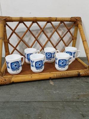 1 6 petites tasses mobil bleues