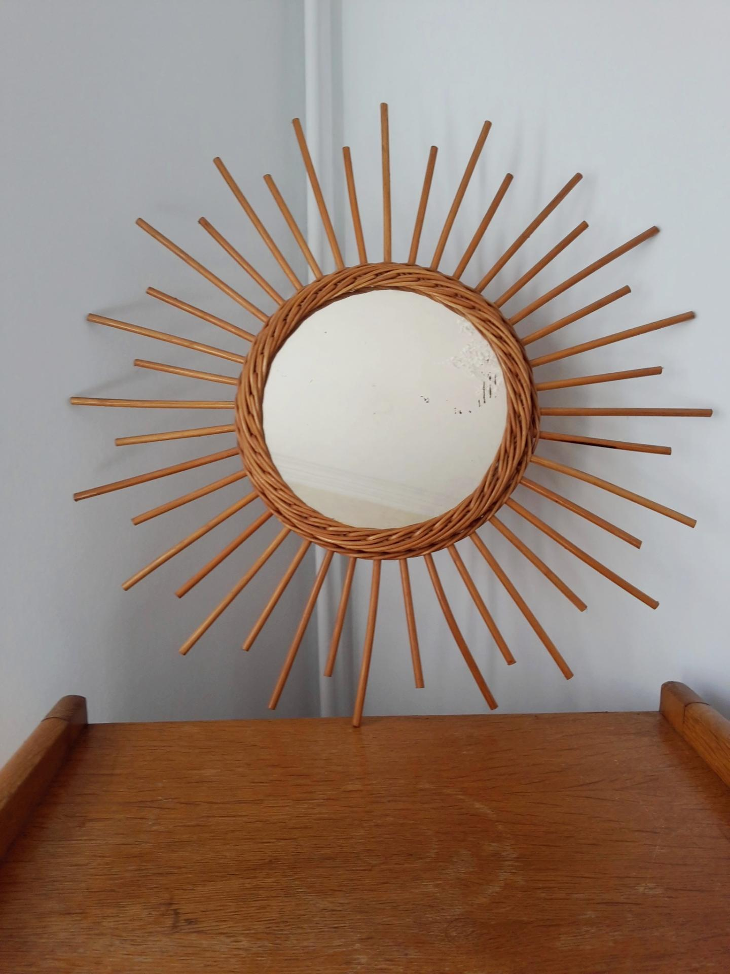 miroir soleil vintage en osier. Black Bedroom Furniture Sets. Home Design Ideas
