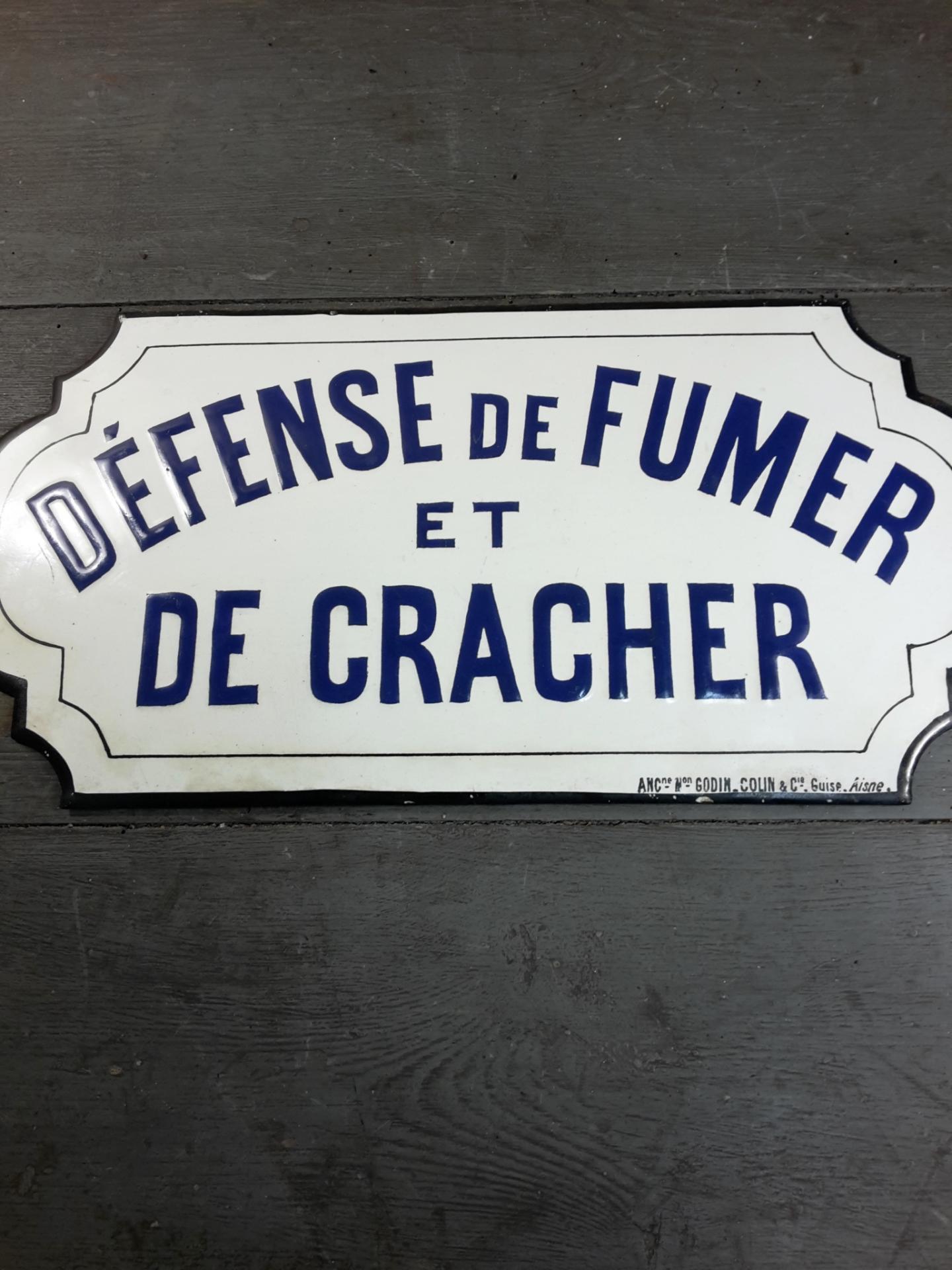 Plaque Maill E D Fense De Fumer Et De Cracher
