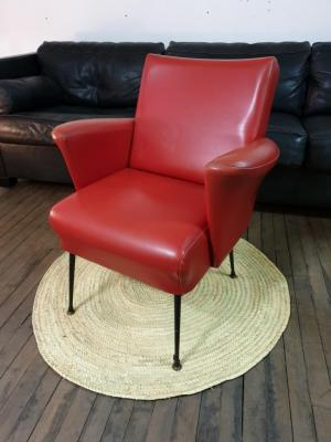 1 fauteuil skai rouge 50 s