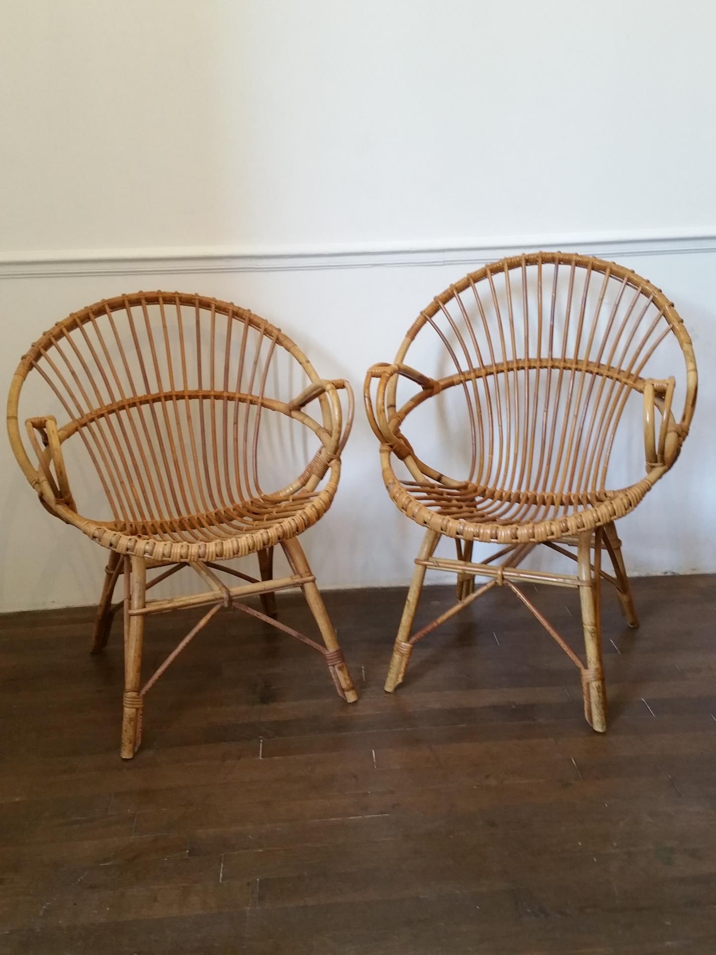 1 fauteuils en osier