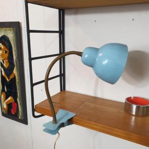 1 lampe cocotte pince bleue