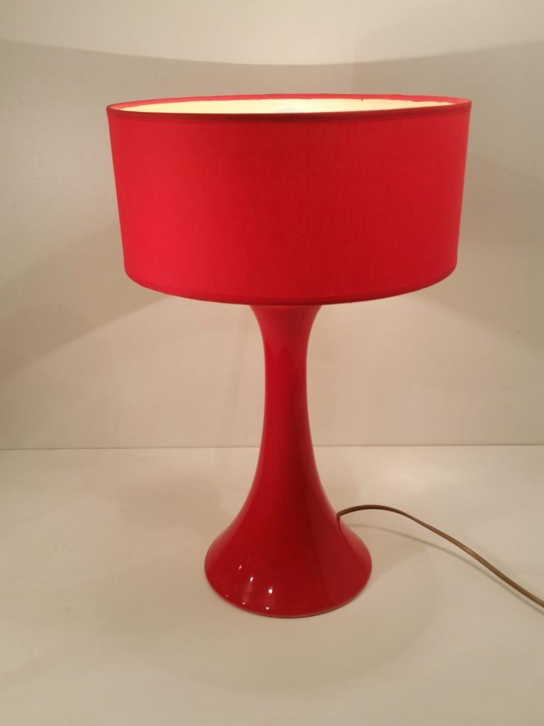 Lampe A Poser Vintage Annees 80 Lampe De Salon Ceramique Rouge