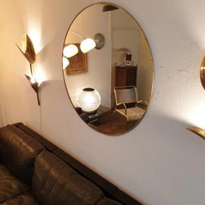 1 miroir laiton grand diametre 1 metre