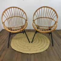 1 paire de fauteuils corbeille
