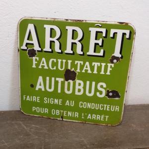1 plaque emaillee arret de bus verte