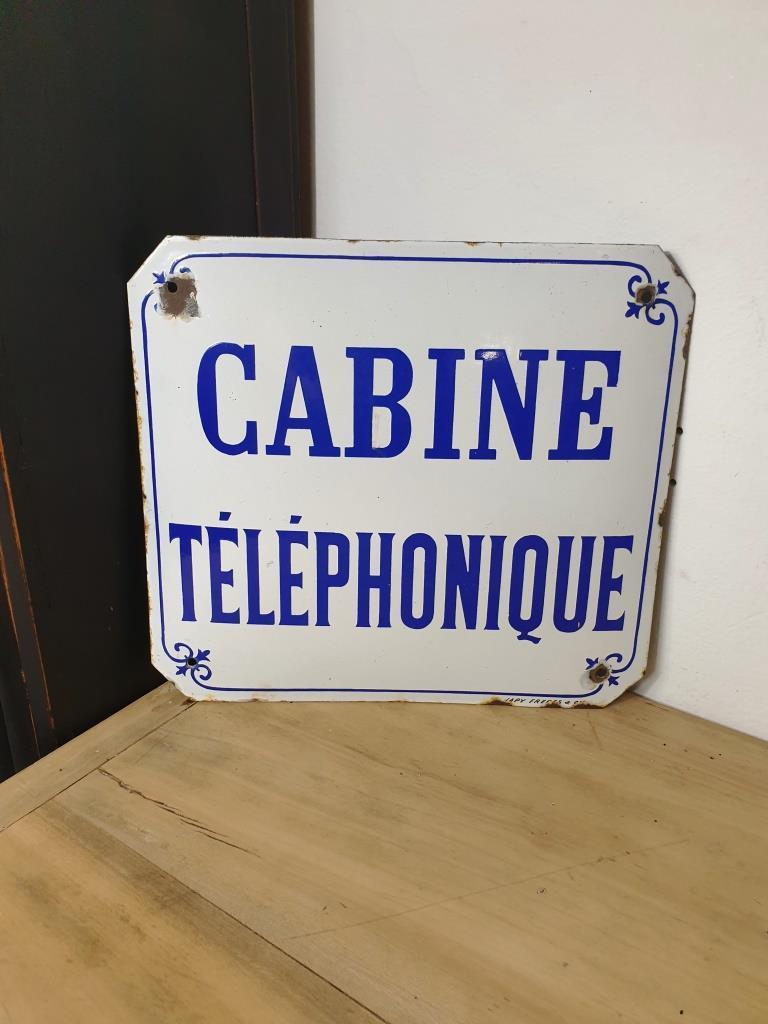 1 plaque emaillee cabine telephonique