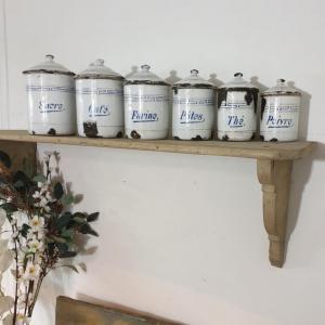 1 serie de pots a epices blanc et bleu emaille