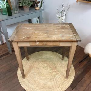 1 table d appoint bois naturel brut