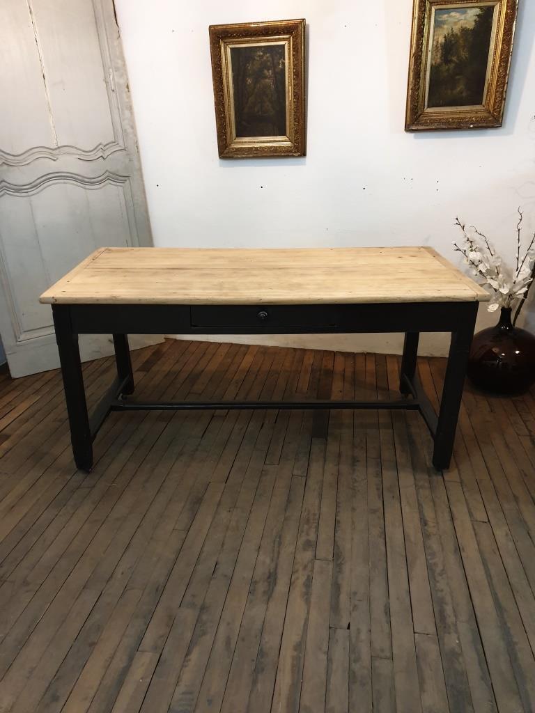 table de ferme patine bois brut naturel tiroir ancien noire