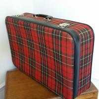 1 valise tissu ecossais