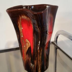 1 vase vallauris marron rouge