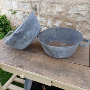 2 bassines en zinc