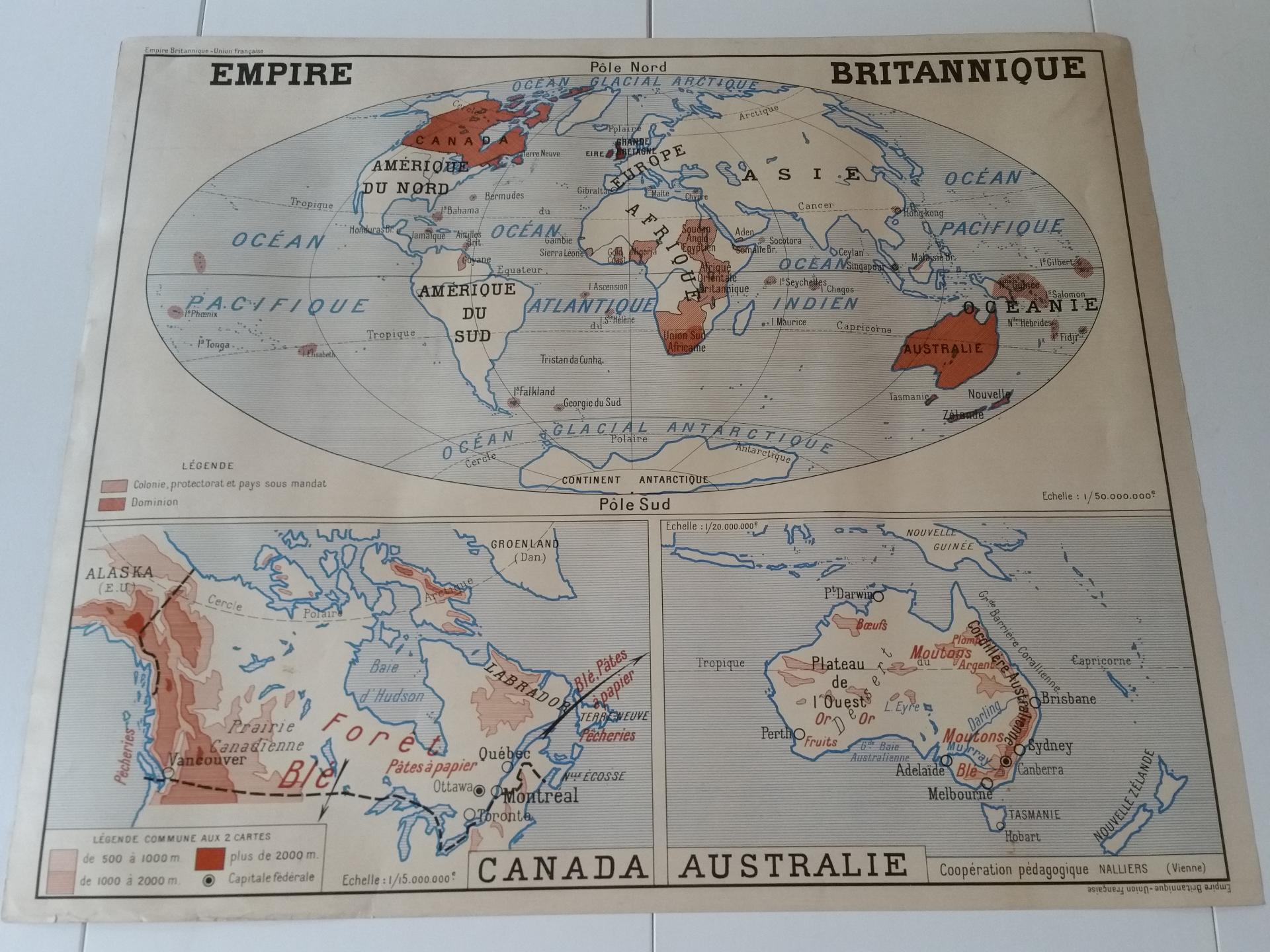 2 carte union francaise empire britanique canada australie