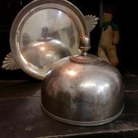 2 cloche en metal argente