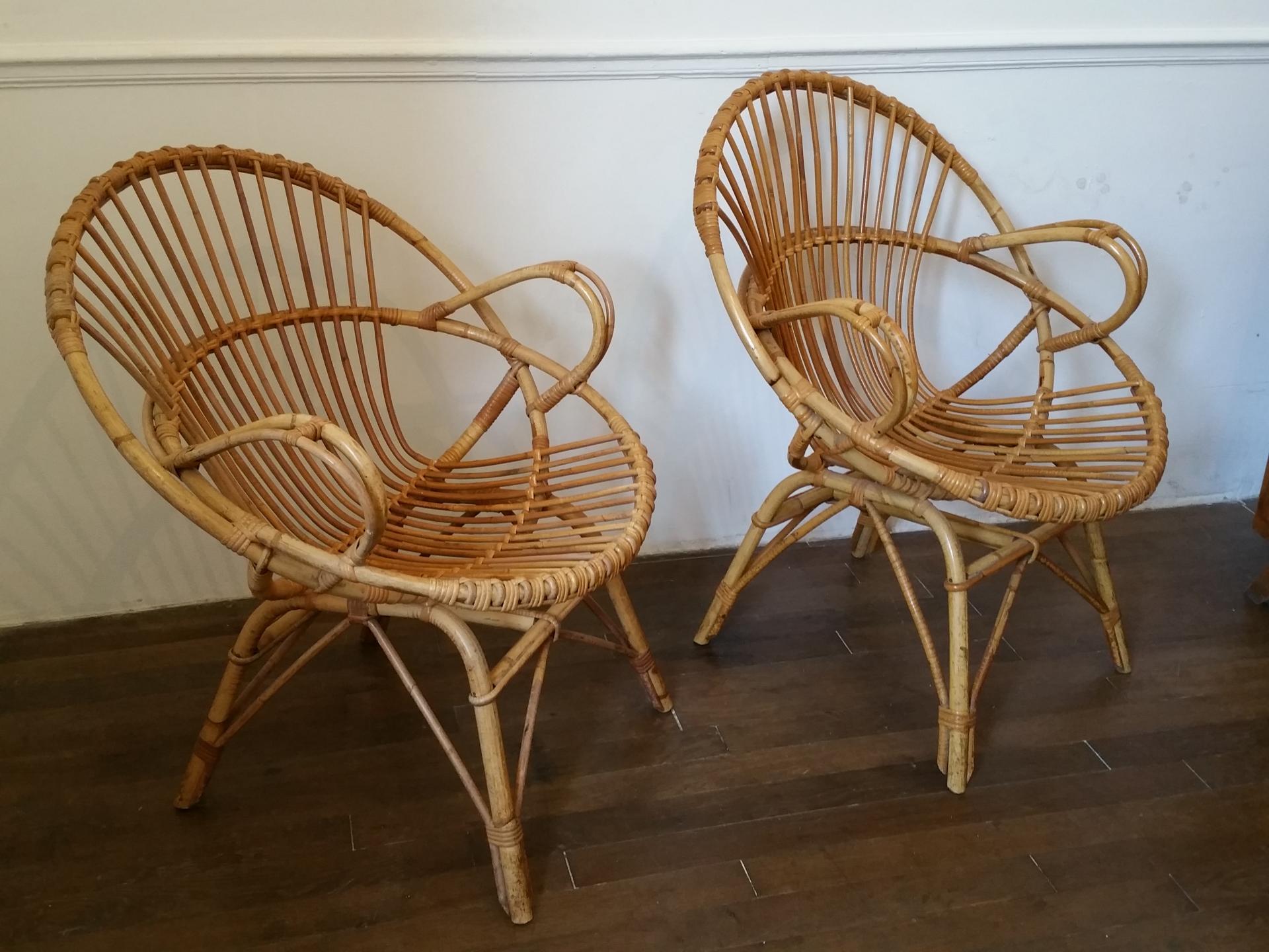2 fauteuils en osier