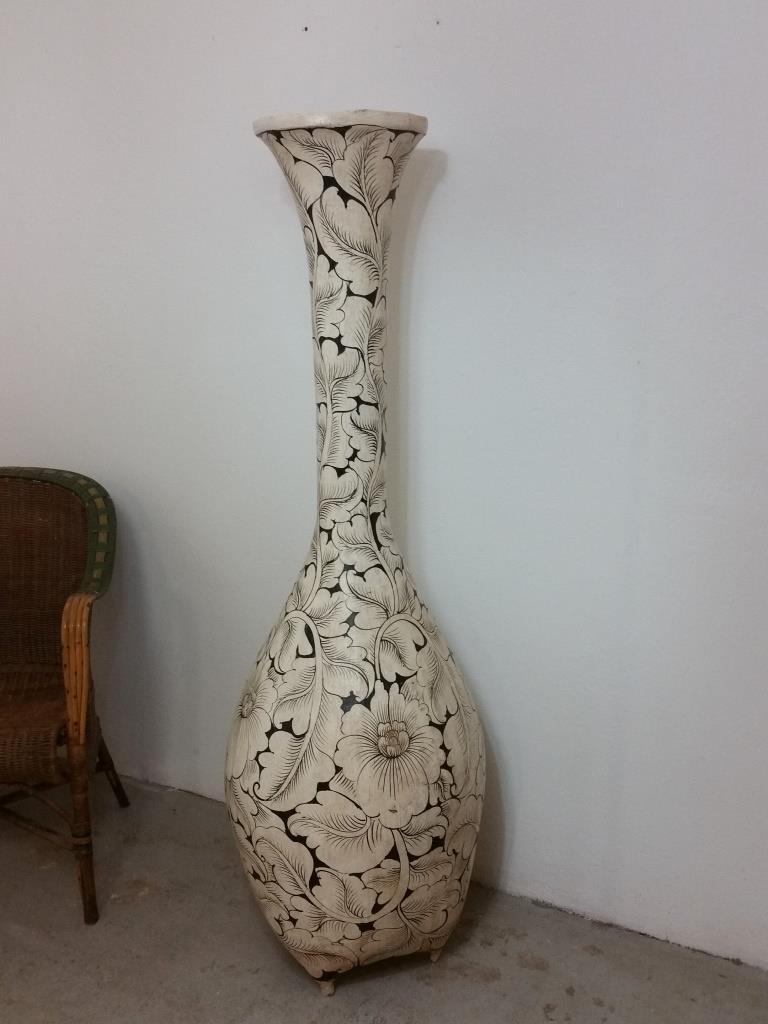 2 grand vase en osier decor floral