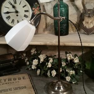 2 lampe de table opaline blanche