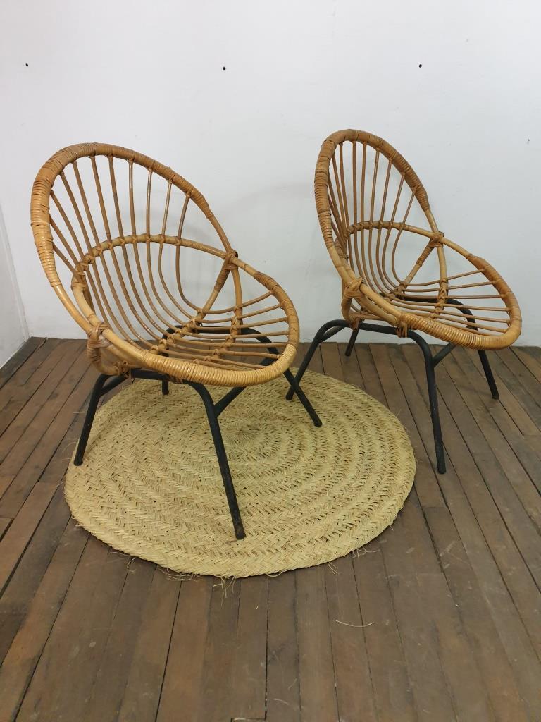 2 paire de fauteuils corbeille