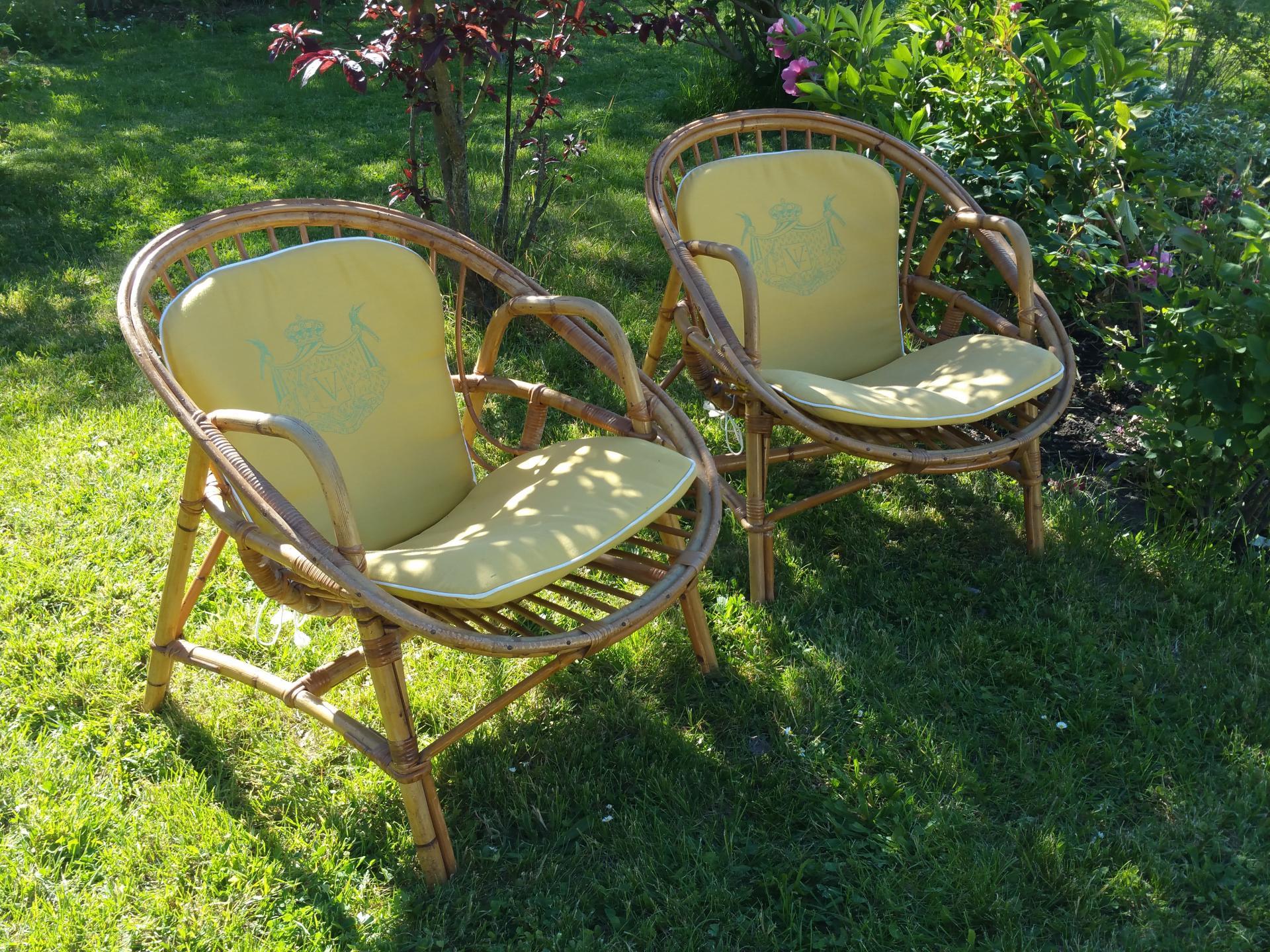 2 paire de fauteuils osier