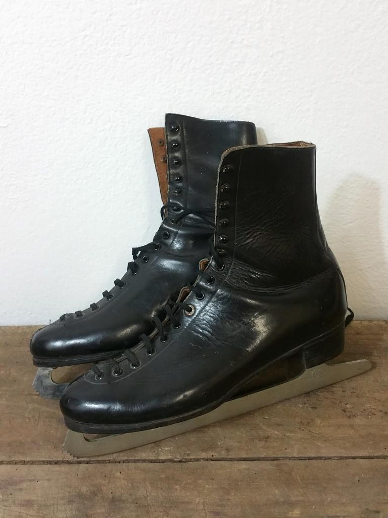 2 paire de patins a glace cuir noir