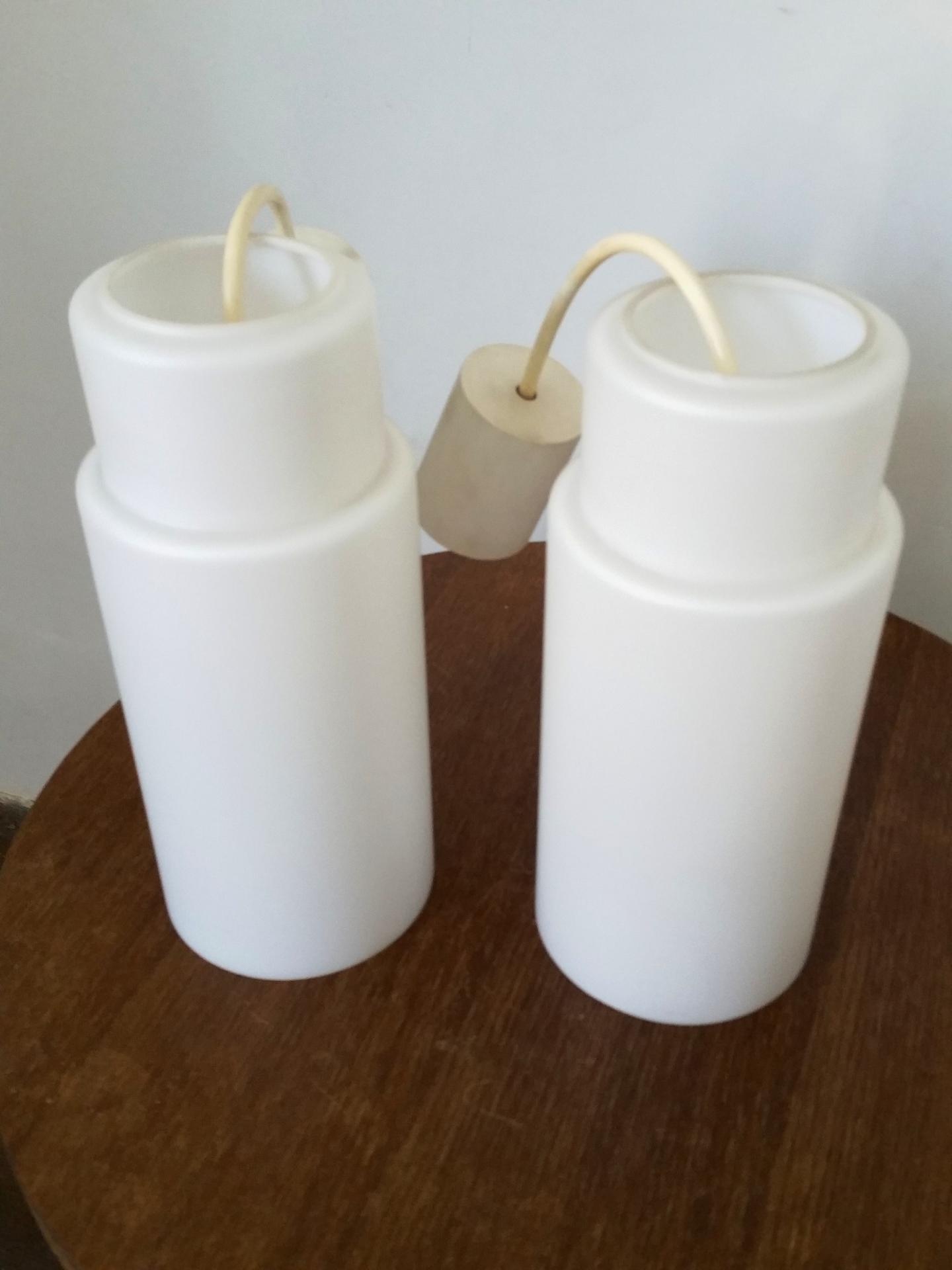 2 paire de suspension opaline blanche
