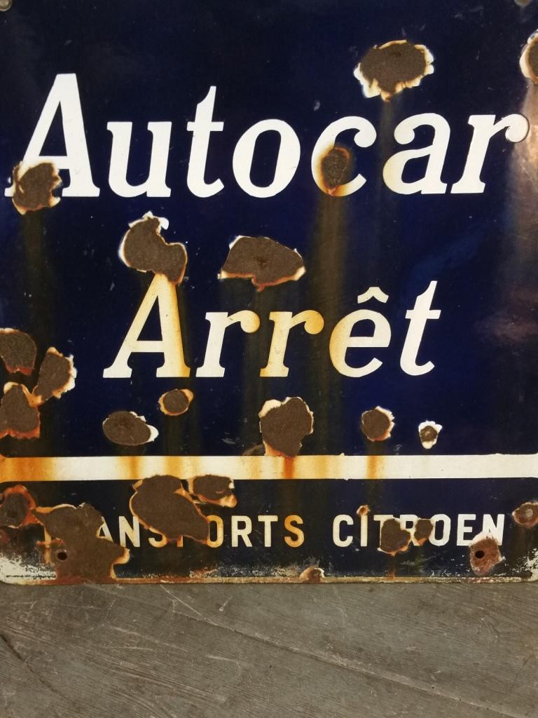 2 plaque emaillee autocar arrete citroen