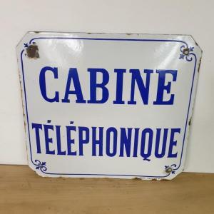 2 plaque emaillee cabine telephonique