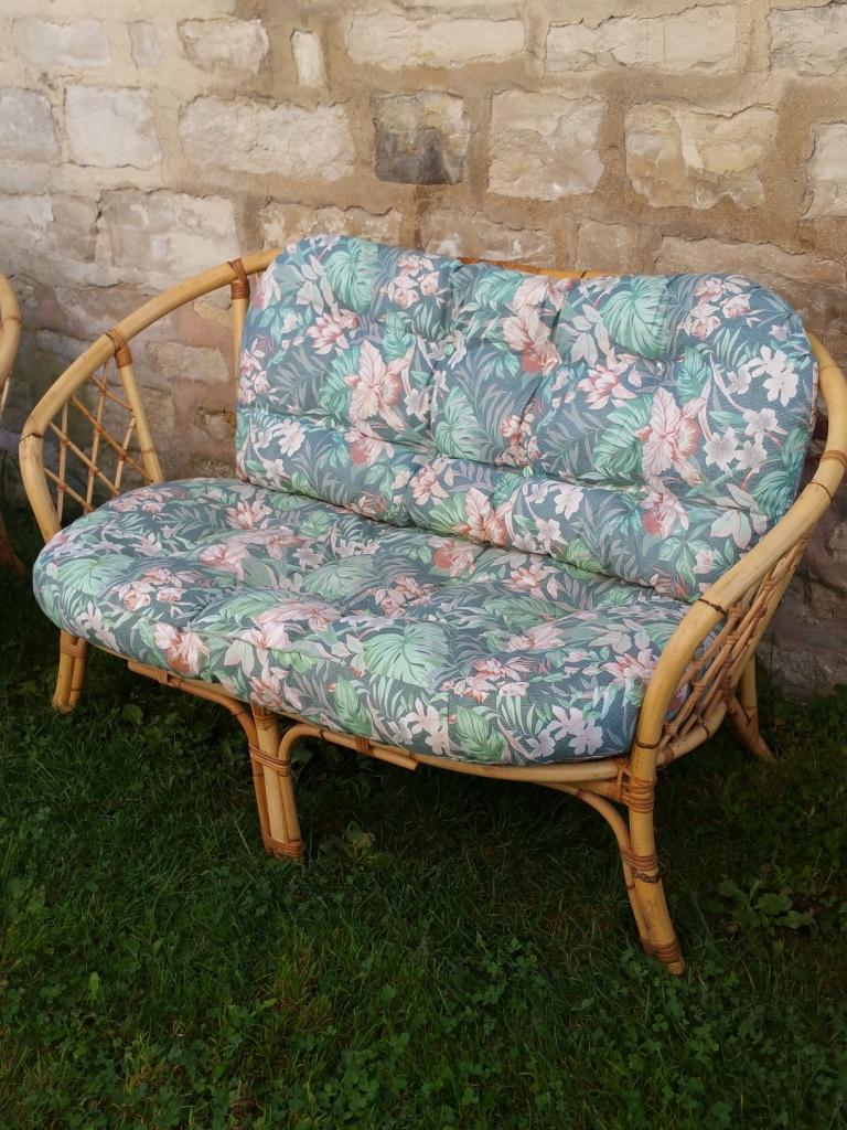 salon de jardin rotin bambou osier fauteuil banquette. Black Bedroom Furniture Sets. Home Design Ideas