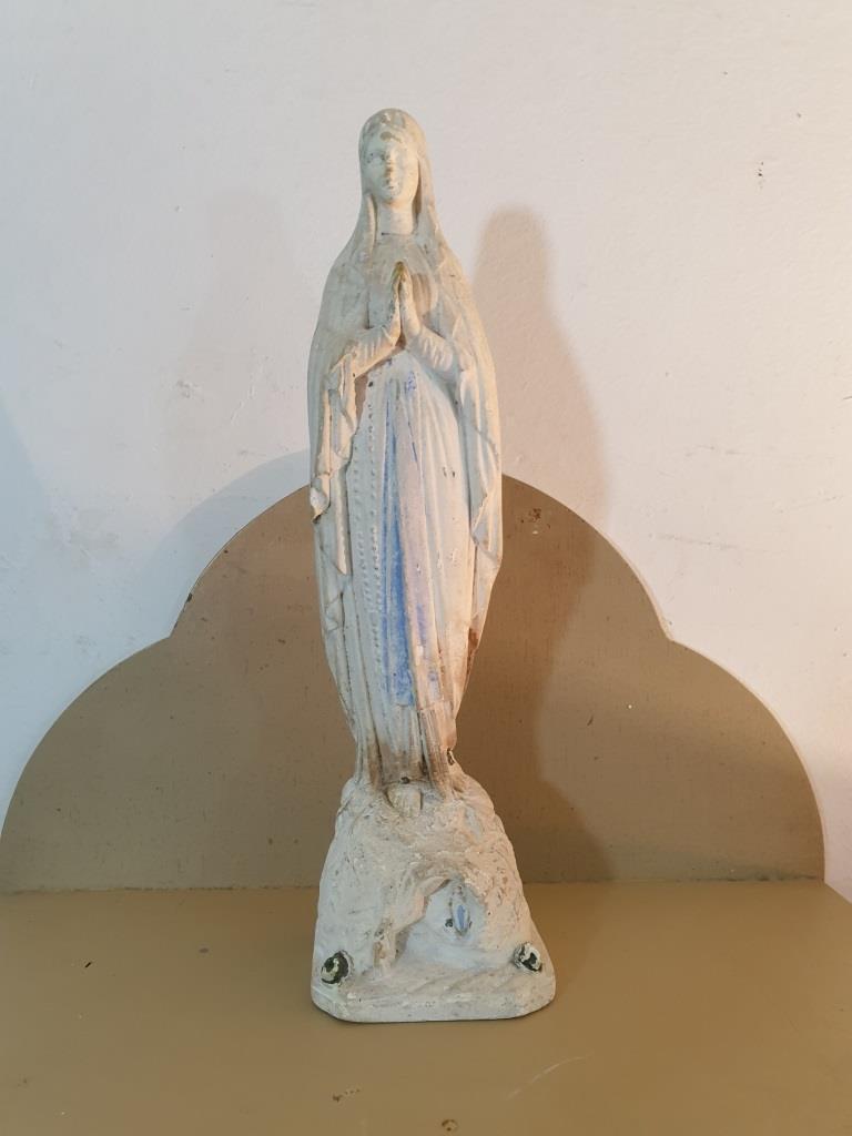 2 statue vierge marie blanche