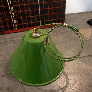 2 suspension emaillee conique verte
