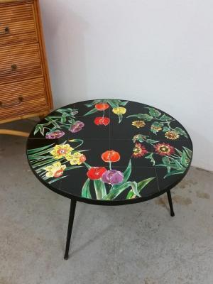2 table basse tripode carreaux de ceramique